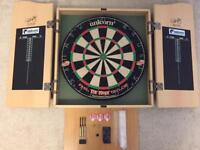Unicorn Phil Taylor Dart Board With Cabinet And Accessories