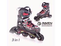 RAVEN Boys Inline Skates Racer Red Size 2.5-5