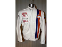 MENS GULF RACING LEATHER JACKET SIZE XL STEVE MCQUEEN LEMANS STYLE