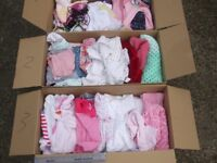 3 very large boxs of baby to 18 months old clothing, (mainly girls)+ bedding for cot+baby alarm