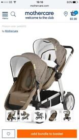 Mothercare genie double and single pushchair