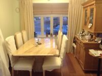 Marble Dining table and 8 chairs. Cream coloured.