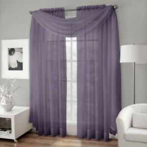 PURPLE. Crushed Voile Sheer Scarf OR FABRIC