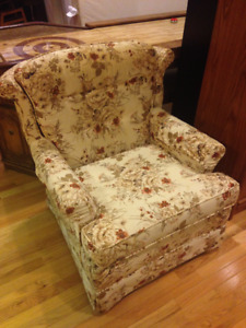 Floral Upholstered Sofa, Loveseat & Chair