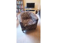 Quirky zebra print tub chair - cream and brown