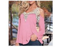 Lace Hollow Out Off Shoulder Long Sleeve Top