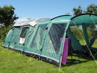 outwell glendale 5 tent package inc carpets/footprint/roof protector/front extension