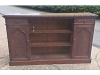 Carved oak sideboard/bookcase