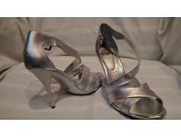 FAITH Silver Leather Heels Size 5
