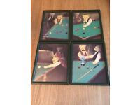 Teddy bears playing snooker prints ( 4 pictures) VERY CUTE