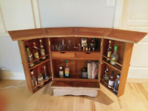 Teak wood drinks bar cabinet from France