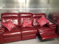 Red leather 2&3 seater sofas