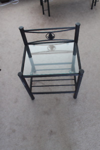 Night stand glass and metal