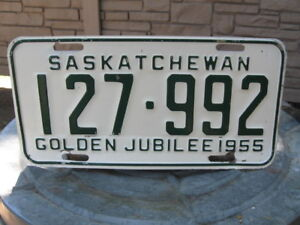 SASK  - GOLDEN JUBILEE - 1955 - LICENSE PLATE-