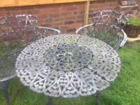 Garden table, bench and chair