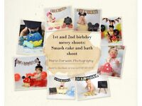 photo shoot : cake smash, bath shoot, newborn, babies, children