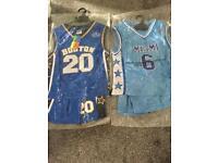 2 x Kids Boston & Miami basketball kits.