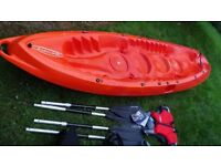 kayak 2-3 seater. sit on type never used. lots of extras