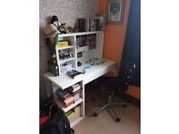 Ikea Small Desk with attached shelving unit and chair