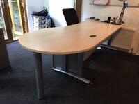 ASH desk, pedestal and chair x 4