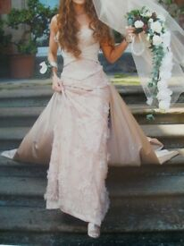 Beautiful Suzanne Neville 3 piece wedding dress, veil, shoes, shrug and matching Bridesmaid dress