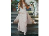 Beautiful Suzanne Neville 3 piece wedding dress, veil, shoes, shrug and matching Bridesmaid dress