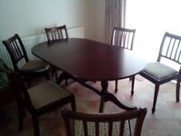Mahogany dinning table and 6 chairs