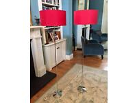 2 Habitat Floor Lamps with Red Shades