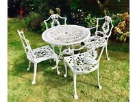 Wrought Iron White Antique Garden Table And Chairs