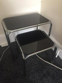 Two Black Glass Side Table Set