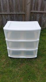 3 Drawer Plastic Storage Unit Folding