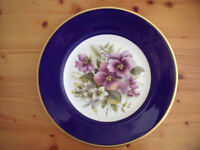 Coalport floral bone china plate - cobalt blue border, gold rim, flowers including pansies in centre