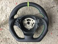 BMW M3 X1 E84 E81 E82 E87 E88 E90 E91 E92 E93 NEW FLAT BOTTOM CUSTOM MADE STEERING WHEEL