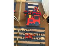 Train Bedroom Set Next Toddler Duvet Cover Curtains Lamp Cushion Toy Box Rug Book Ends