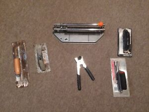 Tile cutter and trowels