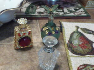 Lovely Collection Of 3 Small Glass Perfume Bottles