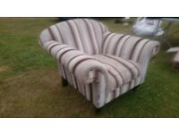Large armchair with stripes