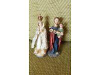 "FLORENTINE COLLECTION RELIGIOUS FIGURINES JOSEPH WITH BABY JESUS & MARY 4"""