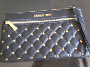 Michael Kors black, quilted leather wristlet