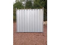 Steel hoarding fencing panels.