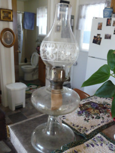 Tall Antique Embossed Glass Oil Lamp