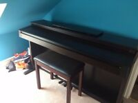 Roland HP 1800e digital piano and matching stool in contemporary dark rose wood