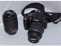 Nikon D3000 Digital SLR Camera with 18-55mm and 55-200mm VR Lens Kit