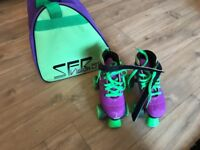 SFR roller boots size 3 with bag green & purple