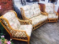 Bamboo 2 Seater Sofa and 2 Chairs Furniture Set