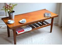 """Vintage """"Myer"""" Danish style teak slatted coffee table. Delivery. Modern / mid century style."""