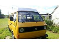 Hi this is a fully restored vw t25 1.6 air cooled pop top auto sleeper
