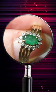 Vintage 14K Yellow Gold With Oval Cut Emerald & Diamonds