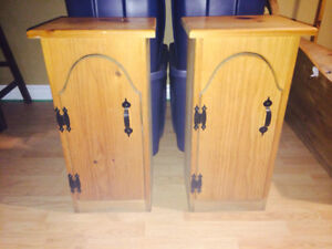 2 x pine rustic cabinets