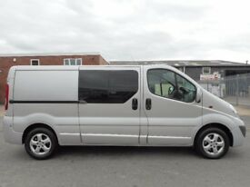 FINANCE ME!! NO VAT!! Stunning vauxhall vivaro sportive lwb factory six seat crew van with only 75k!